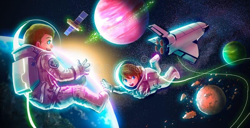 Kreskówki ilustracja astronauta pary dziewczyna i chłopiec ilustracji