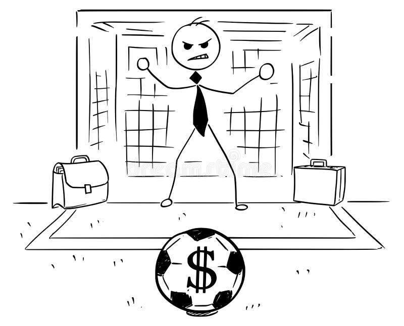 Kreskówki ilustracja biznesmen jako piłki nożnej Futbolowy Bramkowy utrzymanie ilustracja wektor