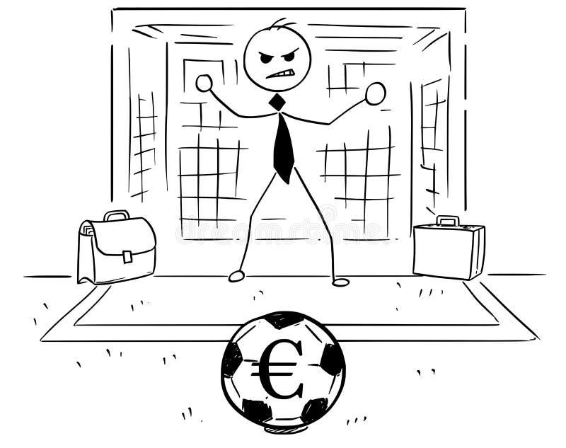 Kreskówki ilustracja biznesmen jako piłki nożnej Futbolowy Bramkowy utrzymanie ilustracji