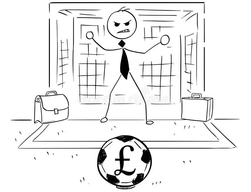 Kreskówki ilustracja biznesmen jako piłki nożnej Futbolowy Bramkowy utrzymanie royalty ilustracja