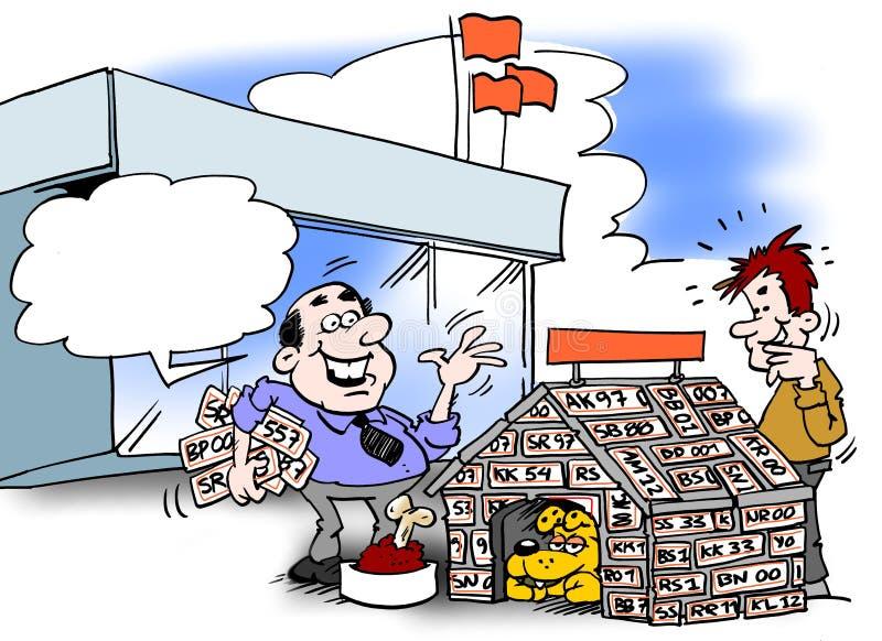 Kreskówki ilustracja biznesmen który specjalizuje się w reusing tablicy rejestracyjne royalty ilustracja