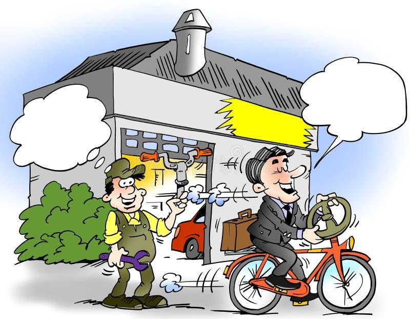 Kreskówki ilustracja biznesmen który wspinał się kierownicę na jego rowerze royalty ilustracja
