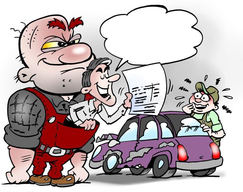Kreskówki ilustracja biznesmen pcha klienta z bezprzyczynowymi metodami ilustracji