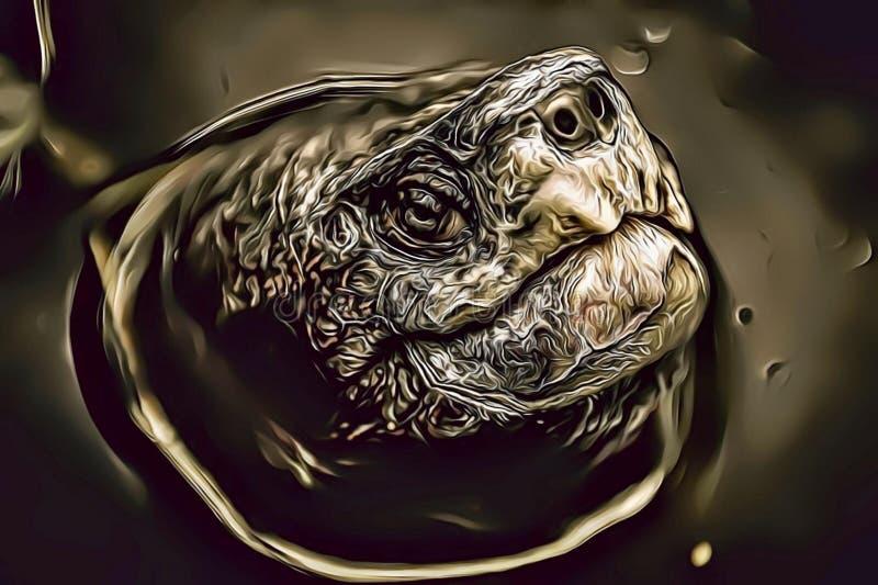 Kreskówki ilustracja brzydki żółw w wody, antypatycznego i monstrualnego żółwia portrecie, zdjęcia royalty free