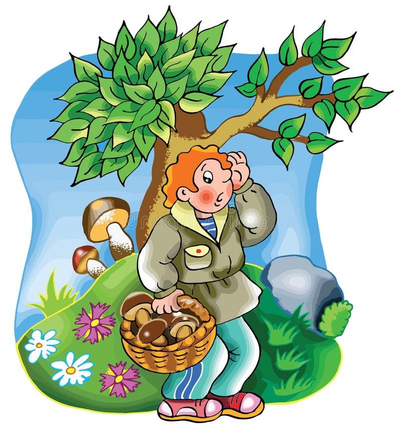 Chłopiec gubjąca w drewnach royalty ilustracja