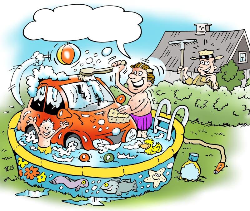 Kreskówki ilustracja domator który myje małego samochód ilustracji