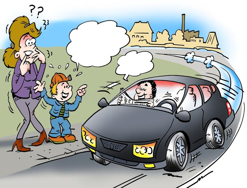 Kreskówki ilustracja driverless samochód royalty ilustracja