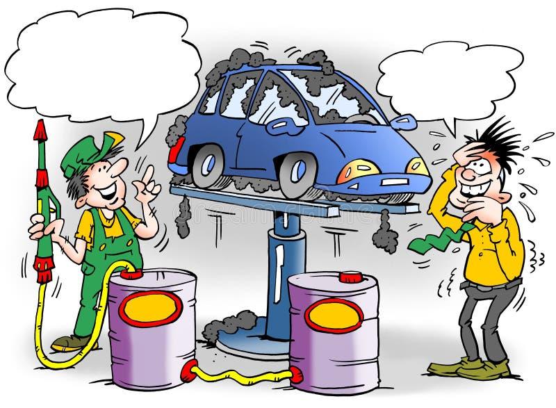 Kreskówki ilustracja dumny mechanik który dawał nowemu samochodowi zbyt dużo zrudziałej ochrony royalty ilustracja