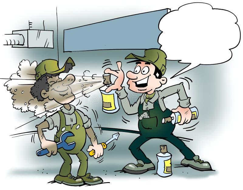 Kreskówki ilustracja dwa mechanika rozpyla kolor lub świeże powietrze w warsztatowego pokój ilustracja wektor