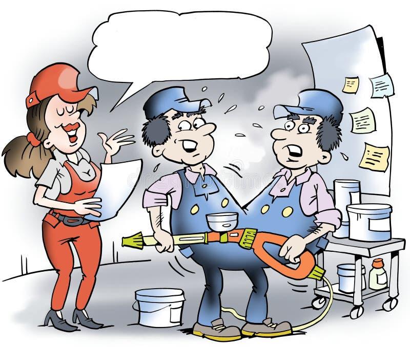 Kreskówki ilustracja dwa Syjamskich bliźniaków mechanik royalty ilustracja