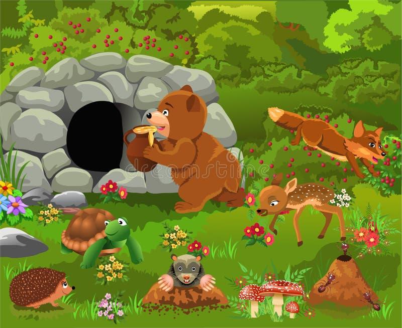 Kreskówki ilustracja dzikie zwierzęta jak niedźwiedź, rogacz, lis, żółw ilustracji