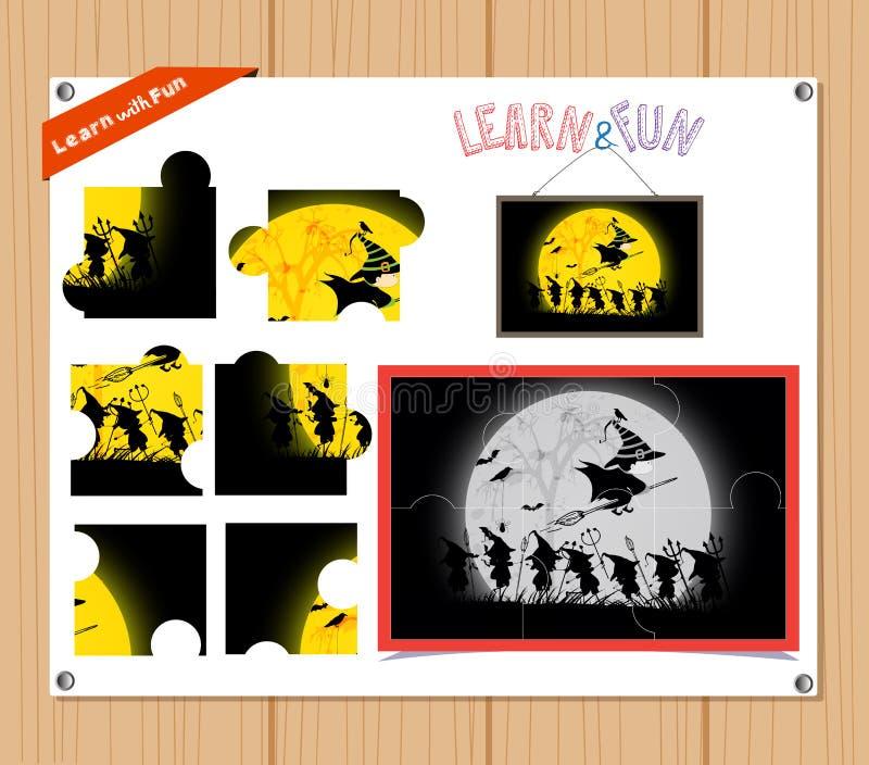 Kreskówki ilustracja edukaci wyrzynarki łamigłówki gra dla Preschool dzieci z Halloween ilustracja wektor