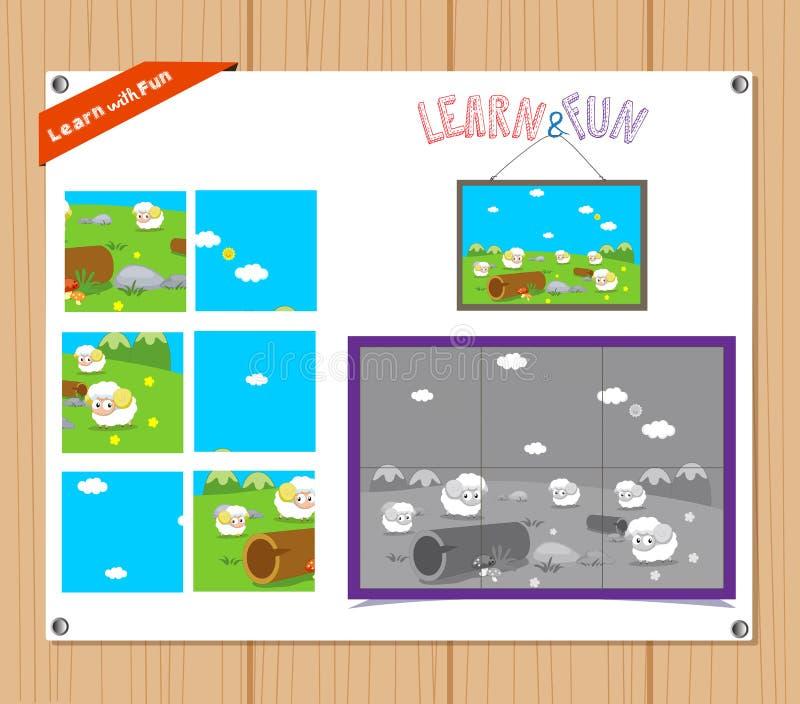 Kreskówki ilustracja edukaci wyrzynarki łamigłówki gra dla Preschool dzieci z zwierzętami gospodarskimi ilustracji