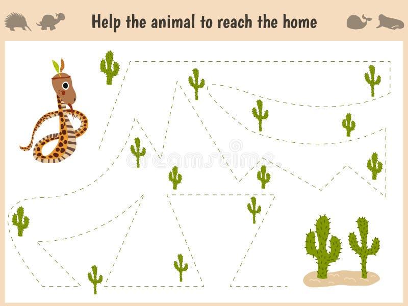 Kreskówki ilustracja edukacja Dopasowywanie gra dla preschool dzieciaków tropi ścieżkę wąż w pustyni Edukacja i gry fotografia royalty free