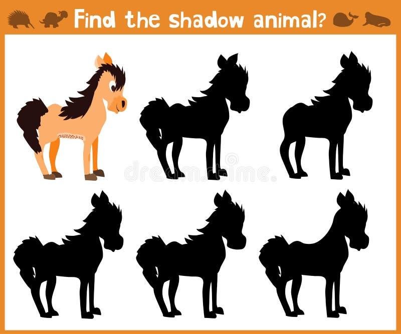 Kreskówki ilustracja edukacja znajduje odpowiedniego cień sylwetki zwierzęcia konia Dopasowywanie gra dla dzieci presc ilustracja wektor