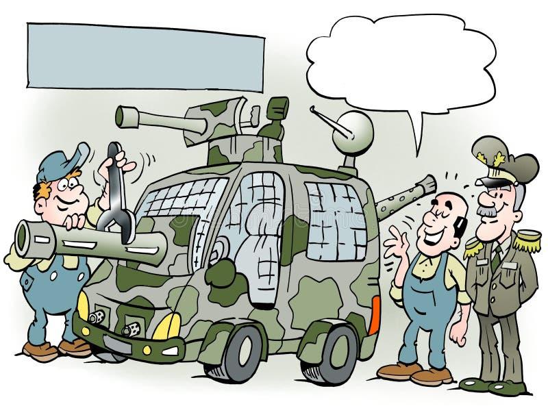 Kreskówki ilustracja generał z jego nowym samochodem ilustracji