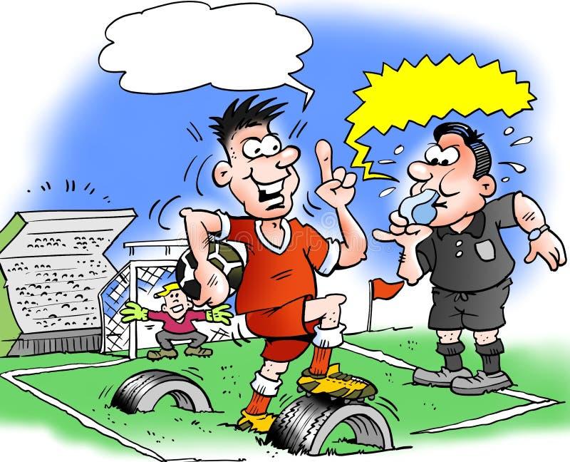 Kreskówki ilustracja gracz futbolu i futbolowa smoła dokąd baza zrobi starzy gumowej opony osady royalty ilustracja