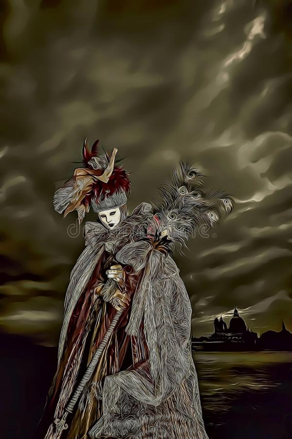 Kreskówki ilustracja jest ubranym długą sukni i bielu maskę podczas Wenecja karnawału w Włochy tajemnicza kobieta royalty ilustracja