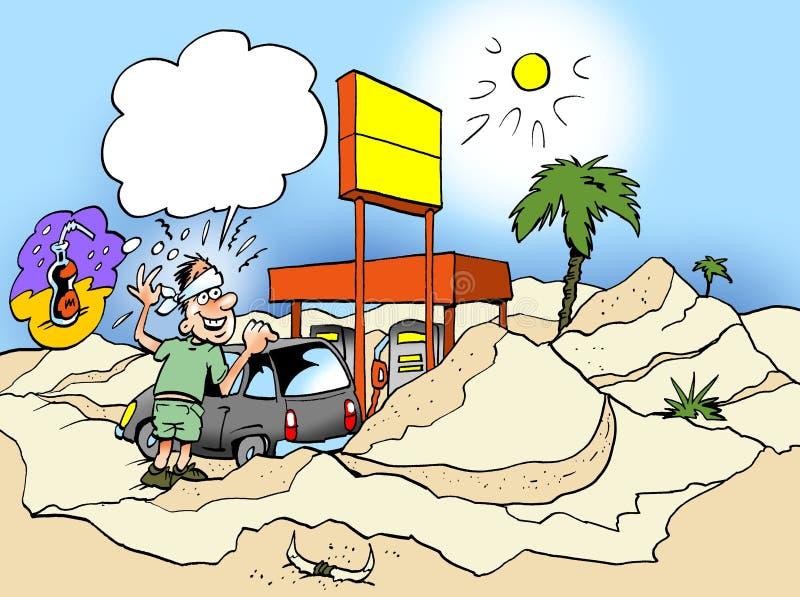Kreskówki ilustracja kierowca który iść out w pustynię i potrzebuje butelkę woda właśnie royalty ilustracja
