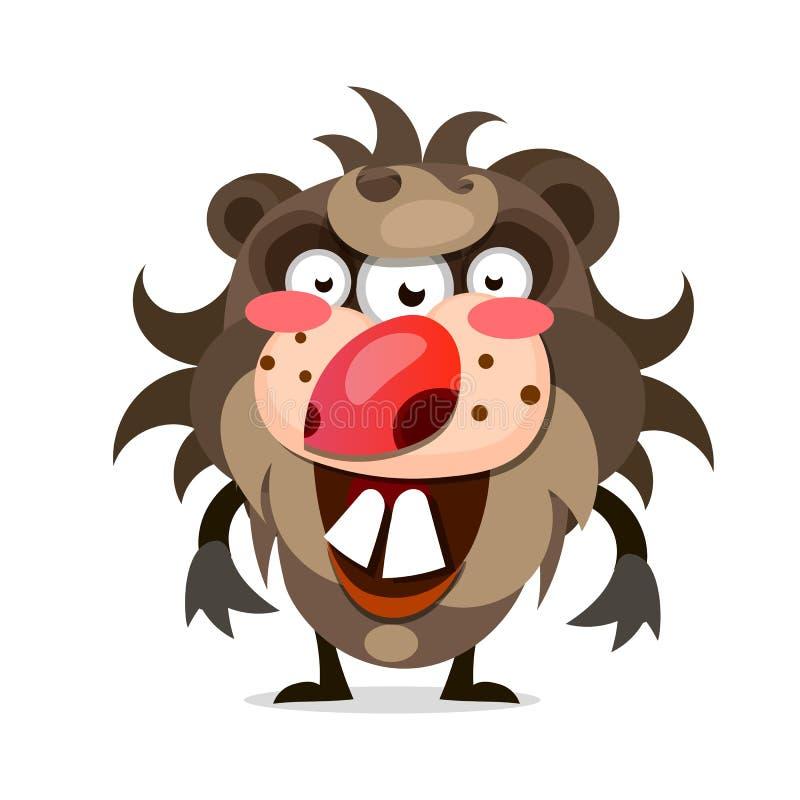 Kreskówki ilustracja kosmaty potwór z dużym usta ostrzy zęby ilustracji