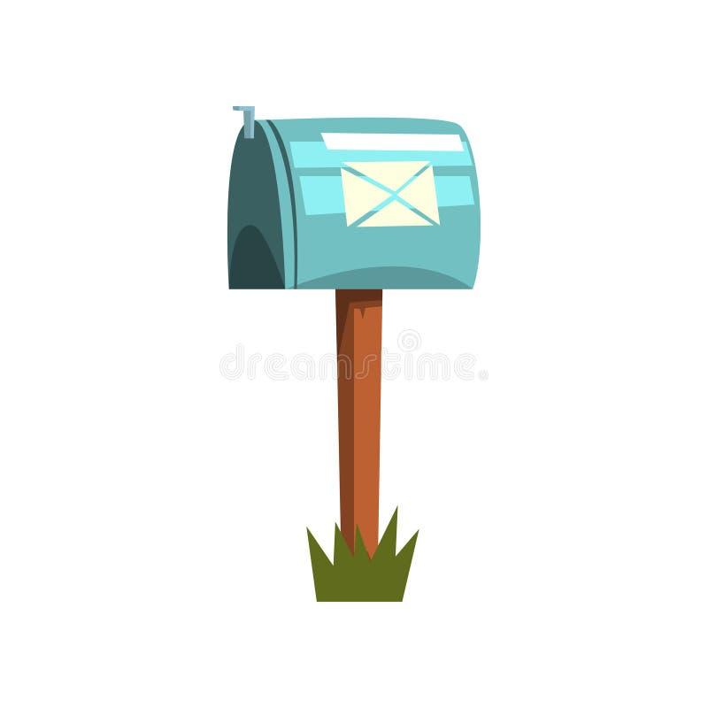 Kreskówki ilustracja kruszcowa skrzynka pocztowa na drewnianym słupie Ikona błękitna zamknięta postbox pozycja na kawałku zielona ilustracja wektor