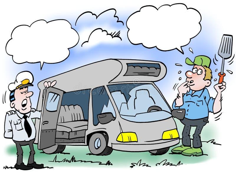 Kreskówki ilustracja mężczyzna który dostaje sprawdzał jego obozowicza royalty ilustracja