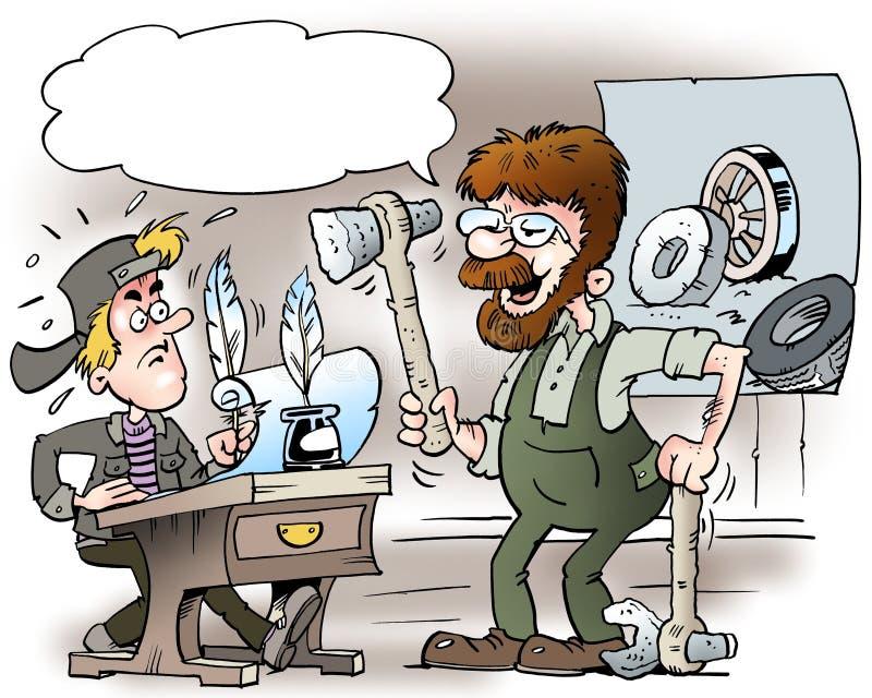 Kreskówki ilustracja A młody mechanik w starej szkole, który uczy się o mechaników narzędziach ilustracji