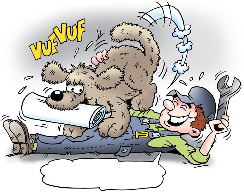 Kreskówki ilustracja A mechanik dostarczał jego psem który dostaje gazetę royalty ilustracja