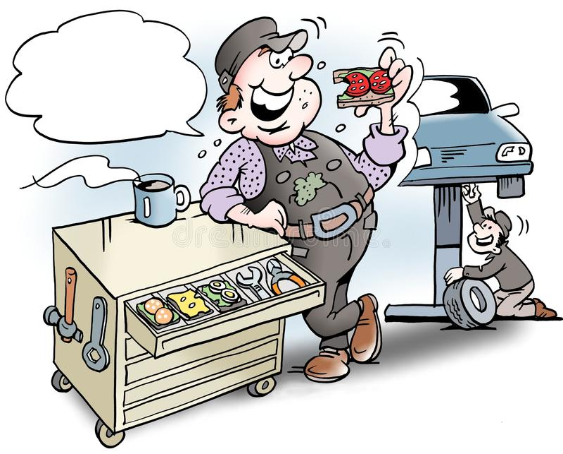 Kreskówki ilustracja A mechanik ma lunch ściska w narzędziowym gabinecie ilustracji