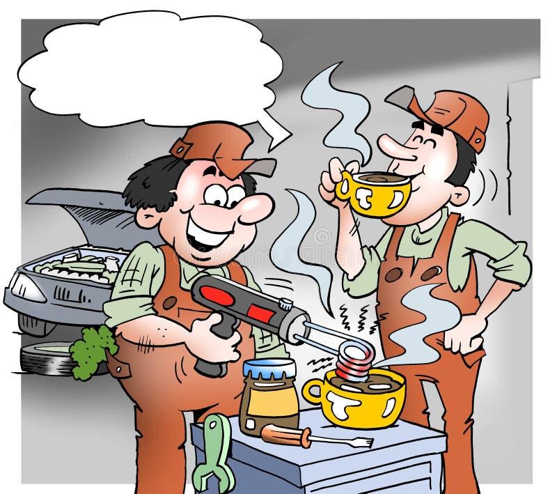 Kreskówki ilustracja mechanik robi gorącej czekoladzie z narzędziami royalty ilustracja