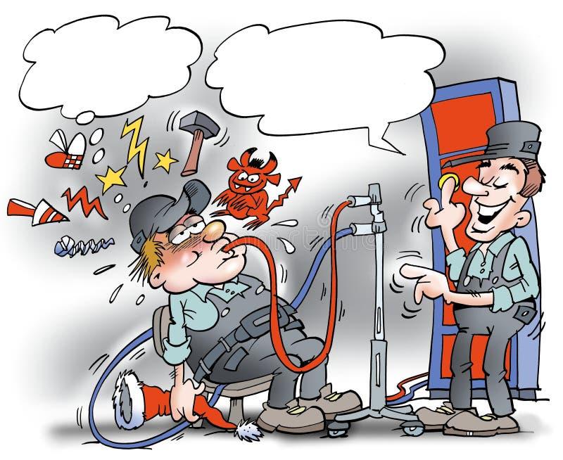 Kreskówki ilustracja mechanik tam dostaje mush alkohol ilustracji