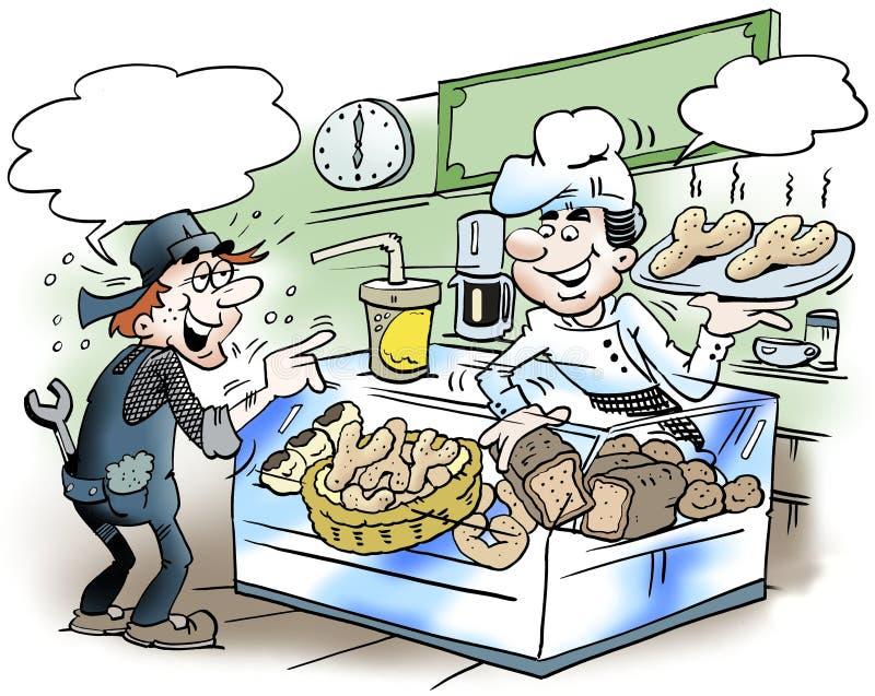 Kreskówki ilustracja mechanik tam kupuje chleb royalty ilustracja
