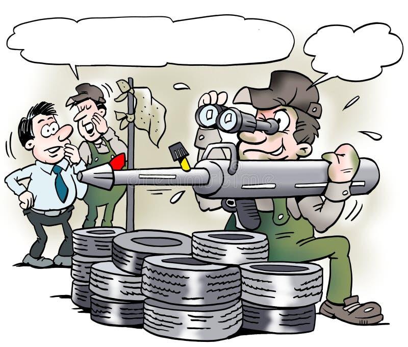 Kreskówki ilustracja A mechanik z specjalnym tłuszcza pistoletu narzędziem który patrzeje jak militarny bazooka ilustracja wektor