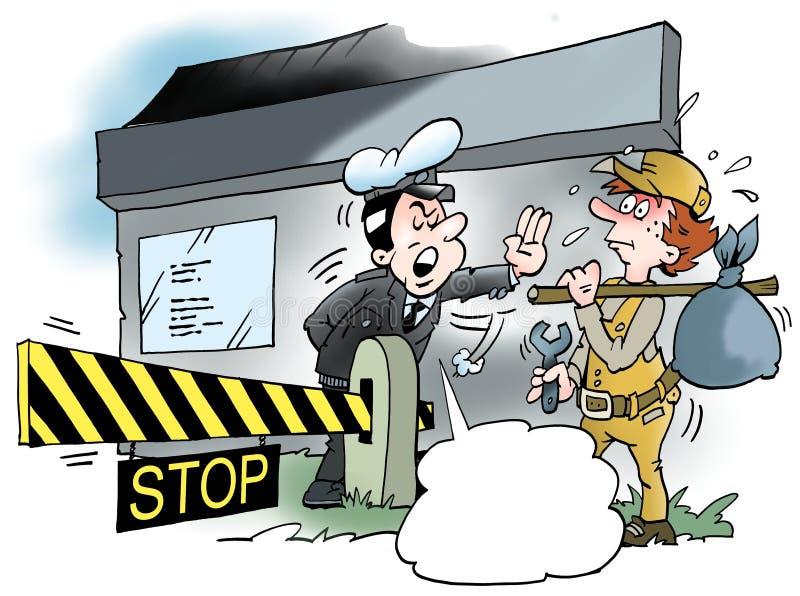 Kreskówki ilustracja mechanika mężczyzna rewizja dla pracy ilustracja wektor