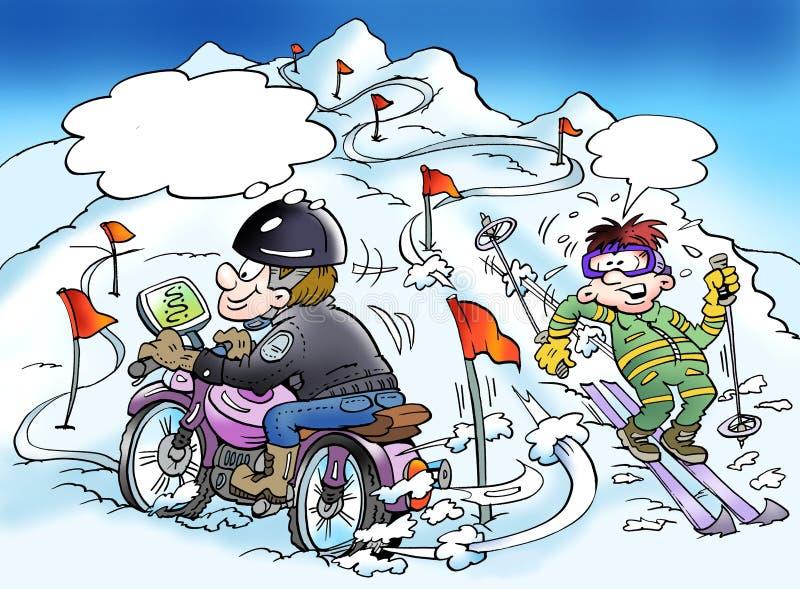 Kreskówki ilustracja motocyklista który znajduje nowego sposób przez jego gps ilustracja wektor