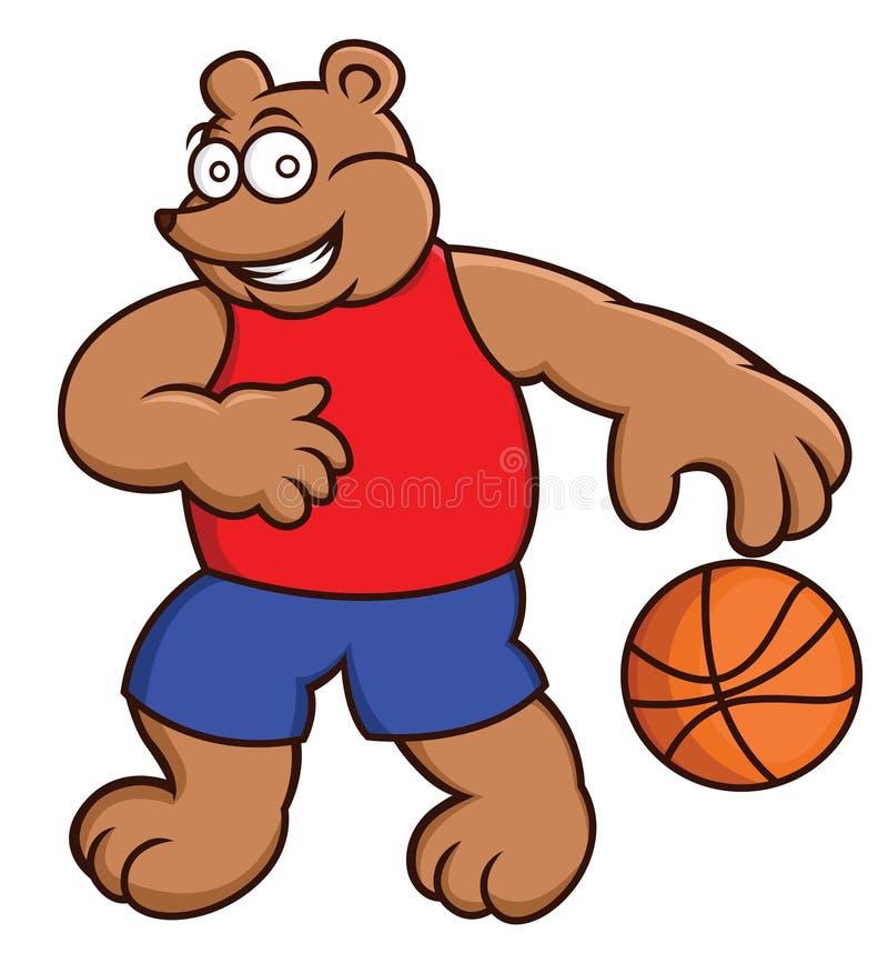 Kreskówki ilustracja niedźwiadkowa bawić się koszykówka ilustracji
