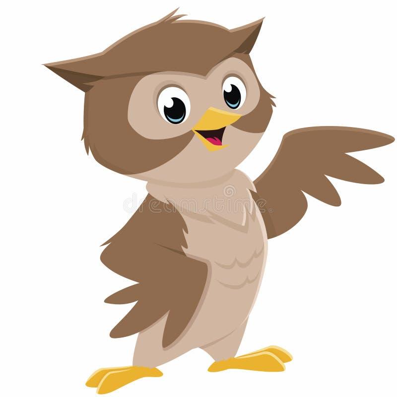 kreskówki ilustracja odizolowywający sowy wektor ilustracji