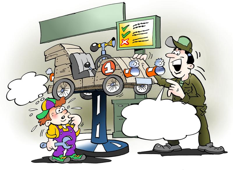 Kreskówki ilustracja ojciec daje syna ` s soj ciężarówce usługowemu czekowi ilustracji