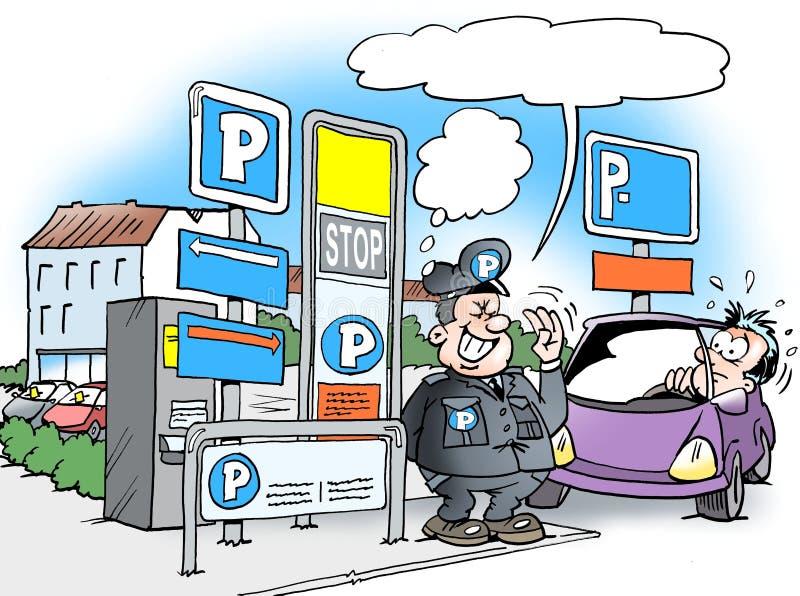 Kreskówki ilustracja parking warden strażnik royalty ilustracja