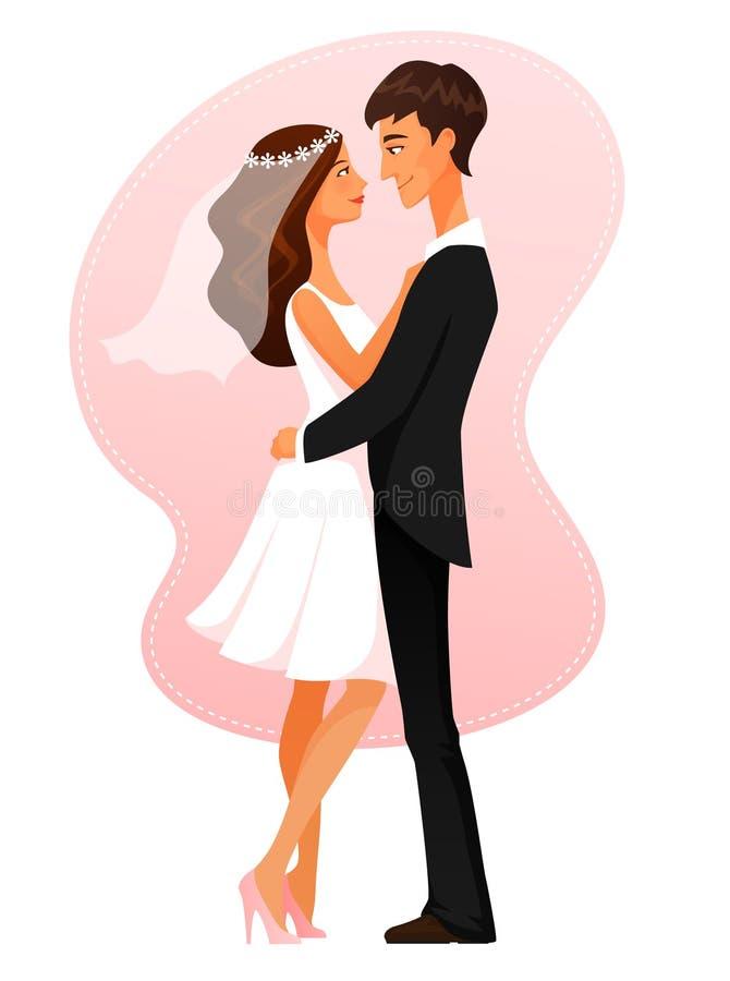 Kreskówki ilustracja potomstwa niedawno poślubia pary ilustracja wektor