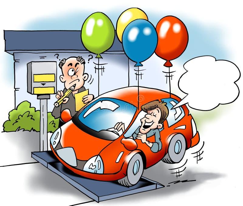 Kreskówki ilustracja próbuje oszukiwać z sumarycznym ciężarem pojazdu drogowy podatek A właściciel samochodu royalty ilustracja