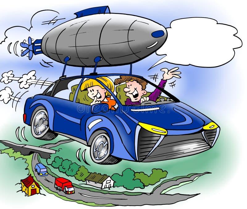 Kreskówki ilustracja rodzina kupował ekstra wyposażenie dla ich brandnew hybrydowego samochodu royalty ilustracja