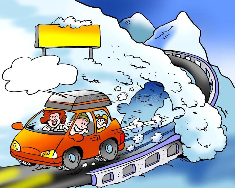 Kreskówki ilustracja rodzina na drogowej narciarskiej wycieczce z brandnew zim oponami dostosowywać royalty ilustracja