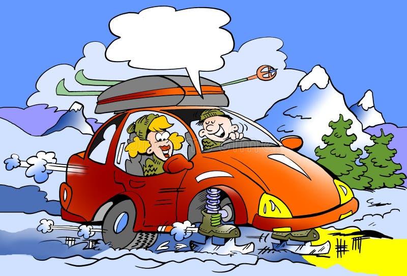 Kreskówki ilustracja rodzina na narciarskiej wycieczce z brandnew łyżwami wspinał się zamiast kół royalty ilustracja