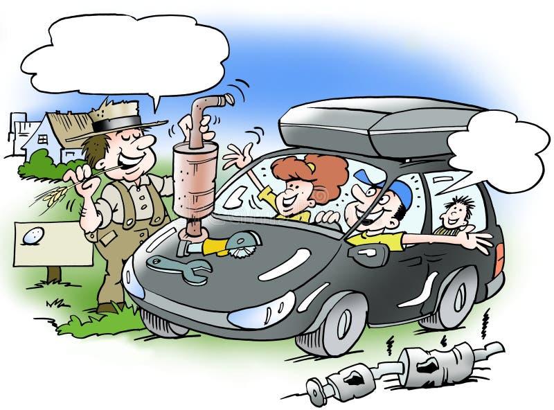 Kreskówki ilustracja rodzina na wakacyjnej wycieczce w samochodzie ilustracja wektor