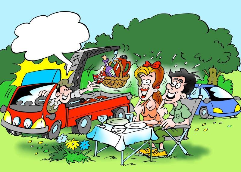 Kreskówki ilustracja rodzinna lasowa wycieczka dokąd lunch dostarcza usługowym samochodem royalty ilustracja