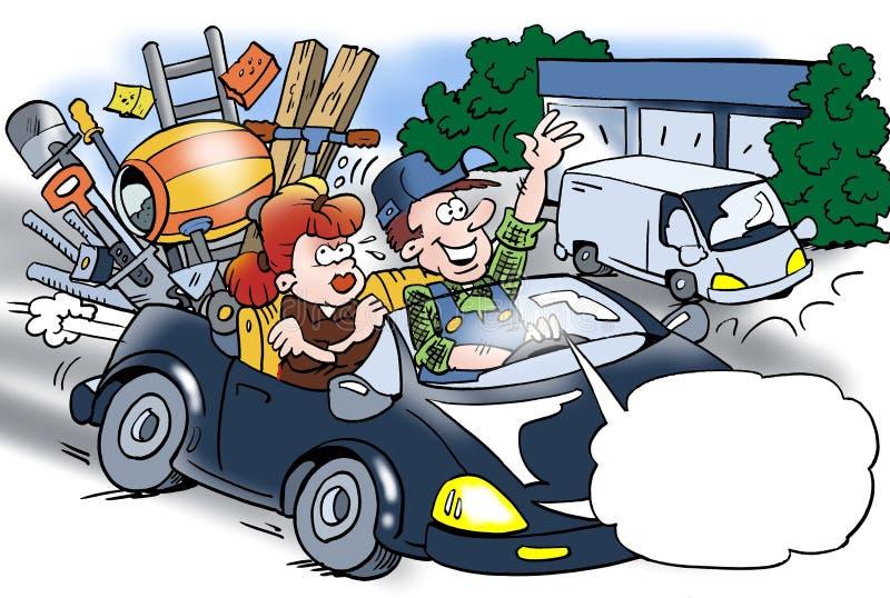 Kreskówki ilustracja rzemieślnik który sprzedawał jego samochód dostawczego, jego żona dokucza ilustracja wektor