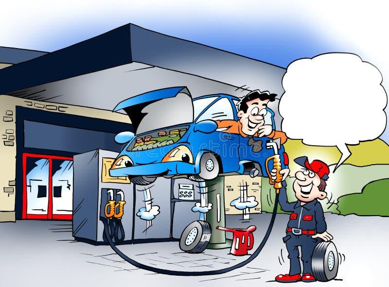 Kreskówki ilustracja samochód który dostaje koła przesunięcie przy benzynową stacją royalty ilustracja
