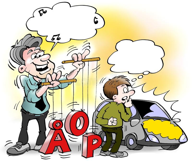 Kreskówki ilustracja Samochodowego sprzedawcy bawić się z i pozycja liczbami i listami ilustracji
