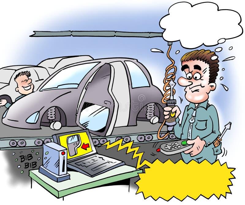 Kreskówki ilustracja samochodowy installer który wspinał się samochodowego drzwi w antycypaci ilustracji